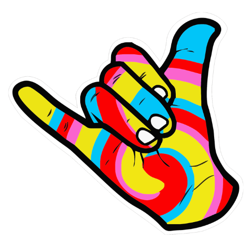 shaka hang loose hand sticker