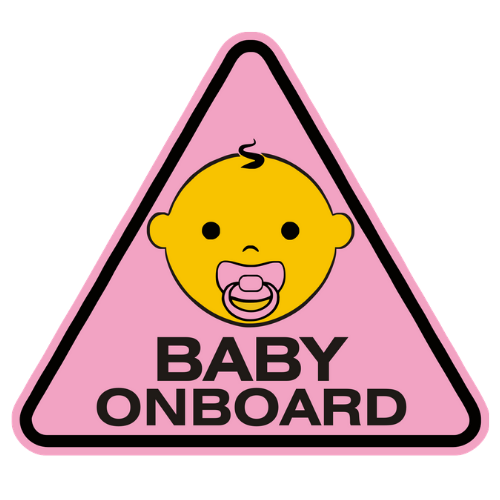 Baby On Board Pink Car Sticker