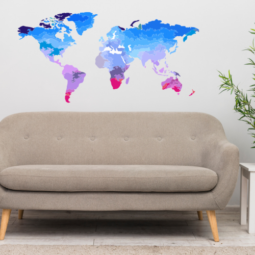 Pink & Blue World Map Wall Sticker