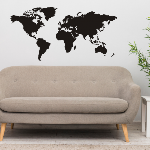 Black World Map Wall Sticker