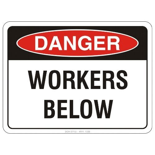 Danger - Workers Below Sign