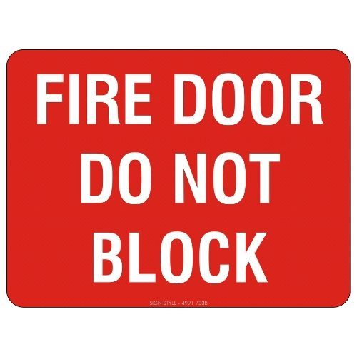 Fire Door Do Not Block Sign