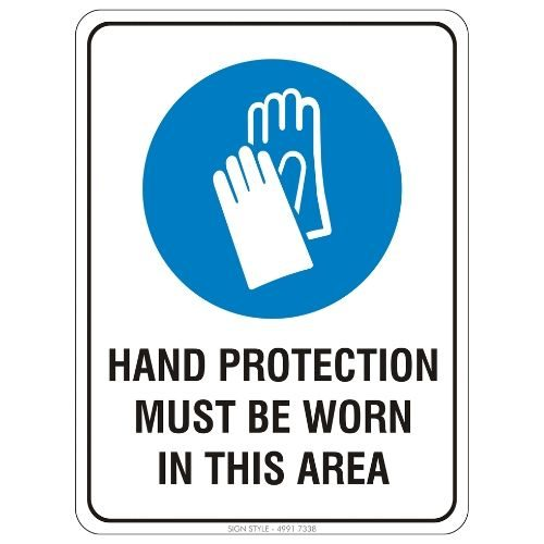 Mandatory - Hand Protection Must Be Worn In This Area Sign