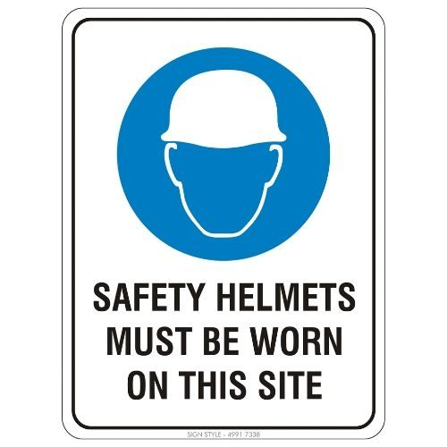 Mandatory - Safety Helmets Must Be Worn On This Site Sign